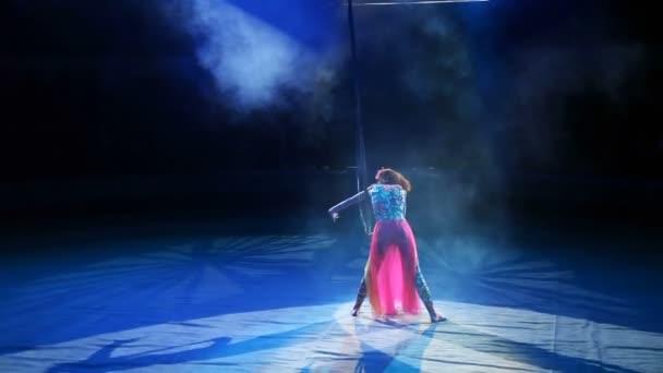Luftturner auf Leinwänden im Zirkus