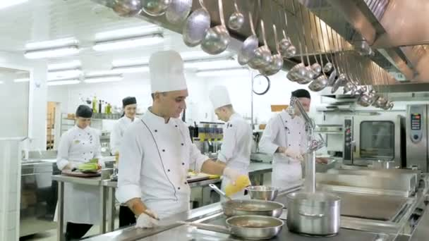 Cooks prepare meals on the stove in the kitchen of the restaurant or hotel