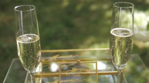Two glasses with sparkling champaign with bubbles stand on the green background