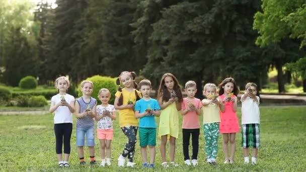 Kinderhände halten Bäumchen mit Pflanzen
