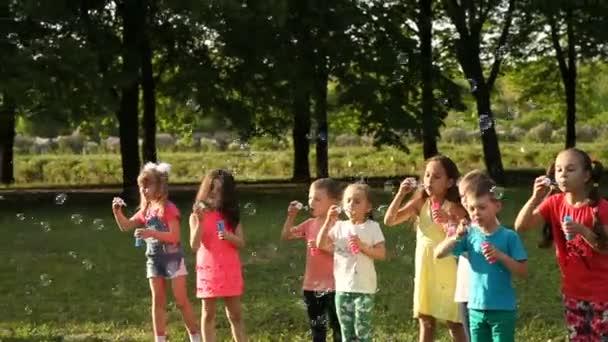 Šťastné děti, které v letním parku fouká mýdlové bubliny