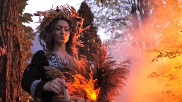 Egy erdei boszorkány főz egy bájitalt egy vudu babával a kezében.