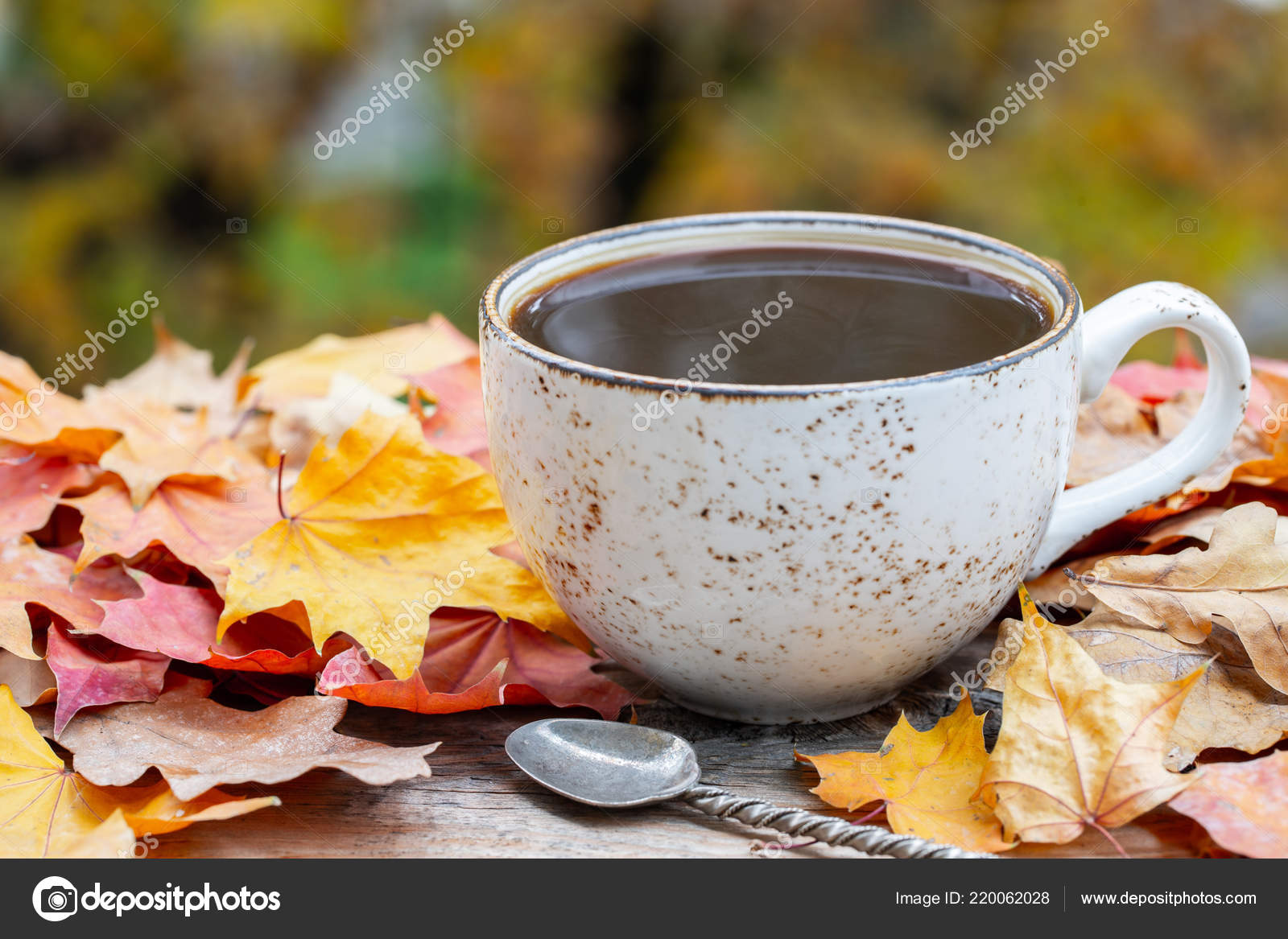 Autumn Fall Leaves Hot Steaming Cup Of Coffee On Wooden Table Background Seasonal Morning Coffee Sunday Relaxing And Still Life Concept With Copy Space For Text Stock Photo Image By C