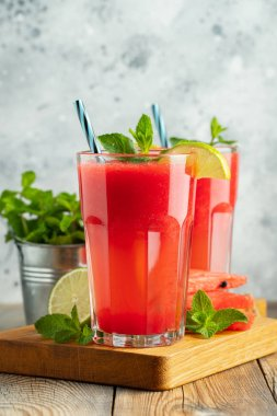 Watermelon slushie with lime and mint, summer refreshing drink i