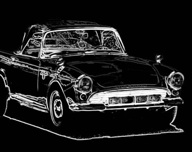 illustration of an old car, drawing of a classic vehicle, vintage poster