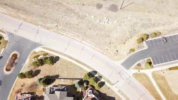 Aerial view of luxury homes in suburban neighborhood.