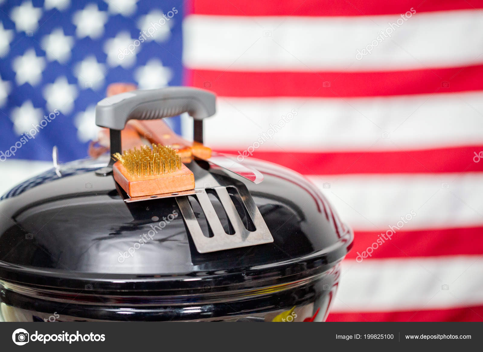 Small Round Charcoal Grill And July 4th Decorations On American Flag Background Photo By Urban Light
