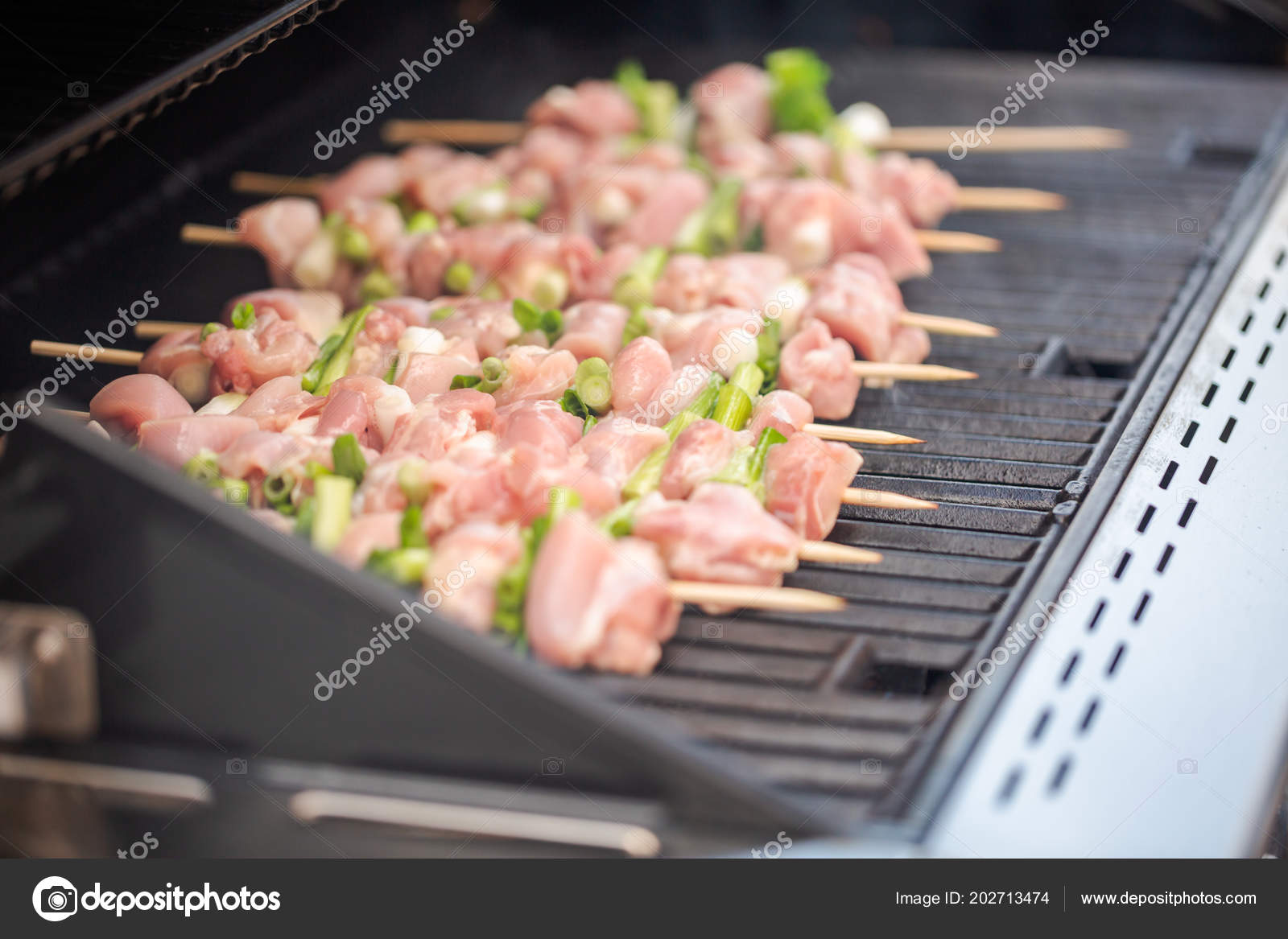 Chicken Gasgrill : Step step raw chicken yakitori skewers outdoor gas grill