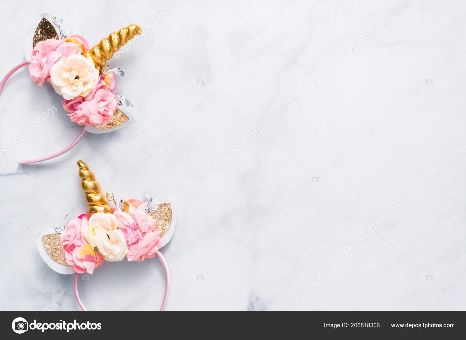 Unicorn Headband Flowers Gold Horn Blue Background Stock Photo