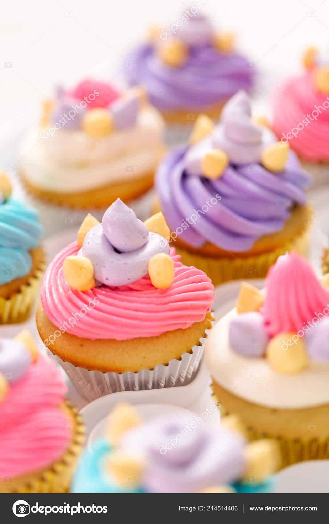 Unicorn Theme Vanilla Cupcakes Kids Birthday Party Stock Photo