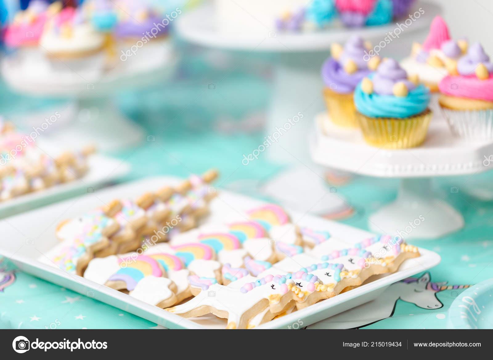 Biscotti Zucchero Unicorno Vassoio Bambina Festa Compleanno Foto
