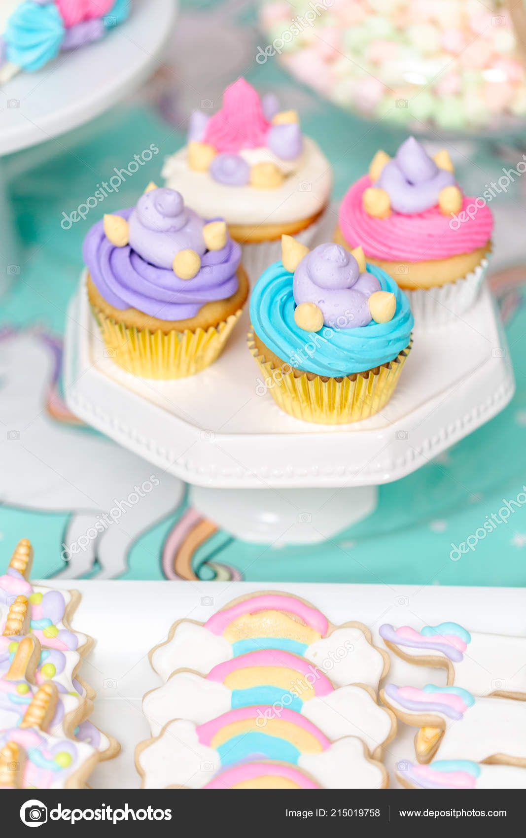 Little Girl Birthday Party Table Unicorn Cake Cupcakes Sugaer