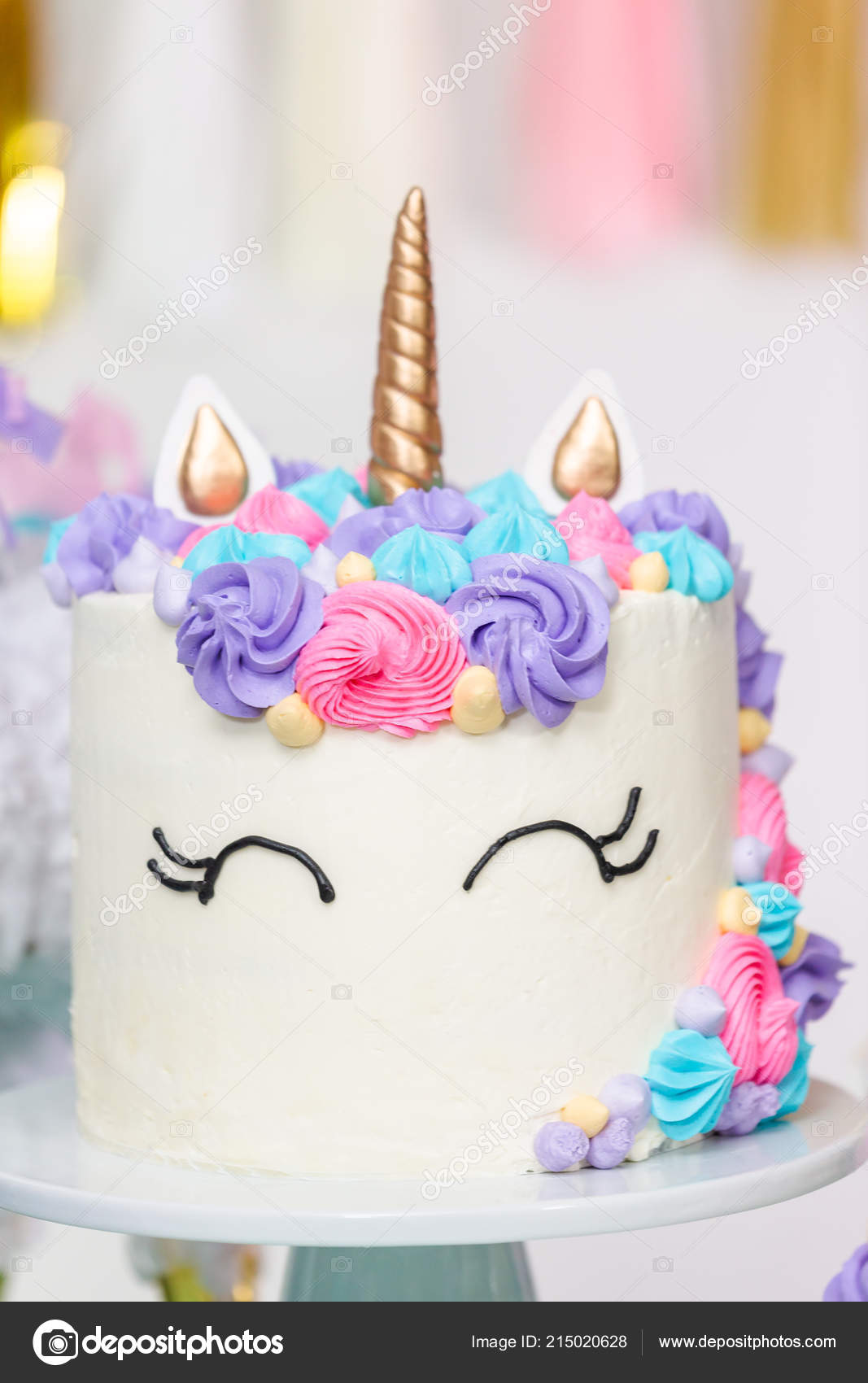 Close Unicorn Cake Little Girl Birthday Party Stock Image