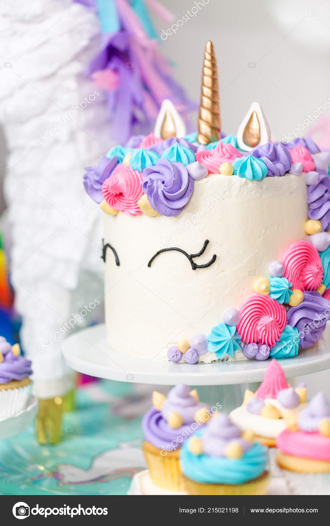 Little Girl Birthday Party Table Unicorn Cake Cupcakes Sugaer Cookies Stock Photo