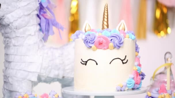 Unicorn Cake Buttercream Party Table Little Girl Birthday Stock Video