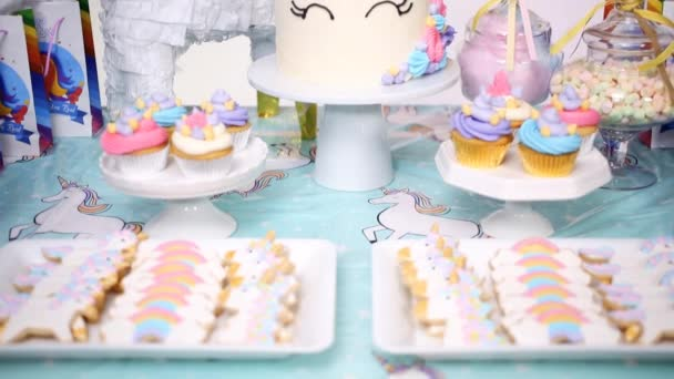 Little Girl Birthday Party Table Unicorn Cake Cupcakes Sugar Cookies Stock Video