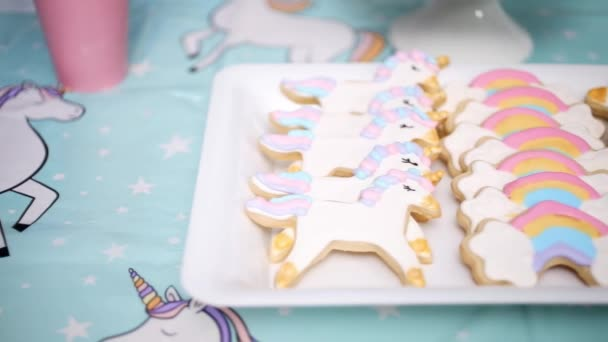 Close Little Girl Birthday Party Table Unicorn Cake Cupcakes Sugar