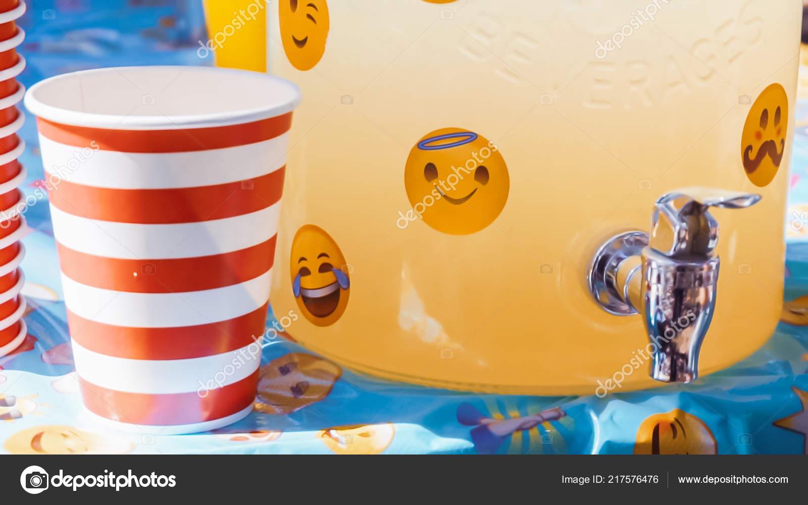 Emoji Themed Little Boy Birthday Party Urban Park Stock Photo