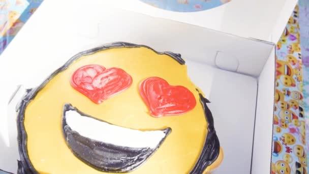 Slow Motion Emoji Birthday Cupcake Cake Little Boy Outdoor Stock Video