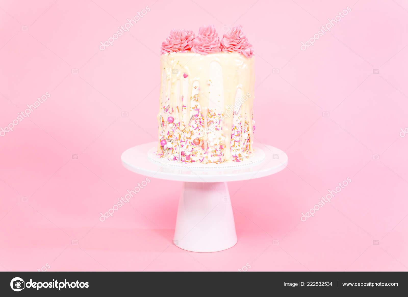 Pink White Buttercream Cream Cake Pink Sprinkles White Chocolate