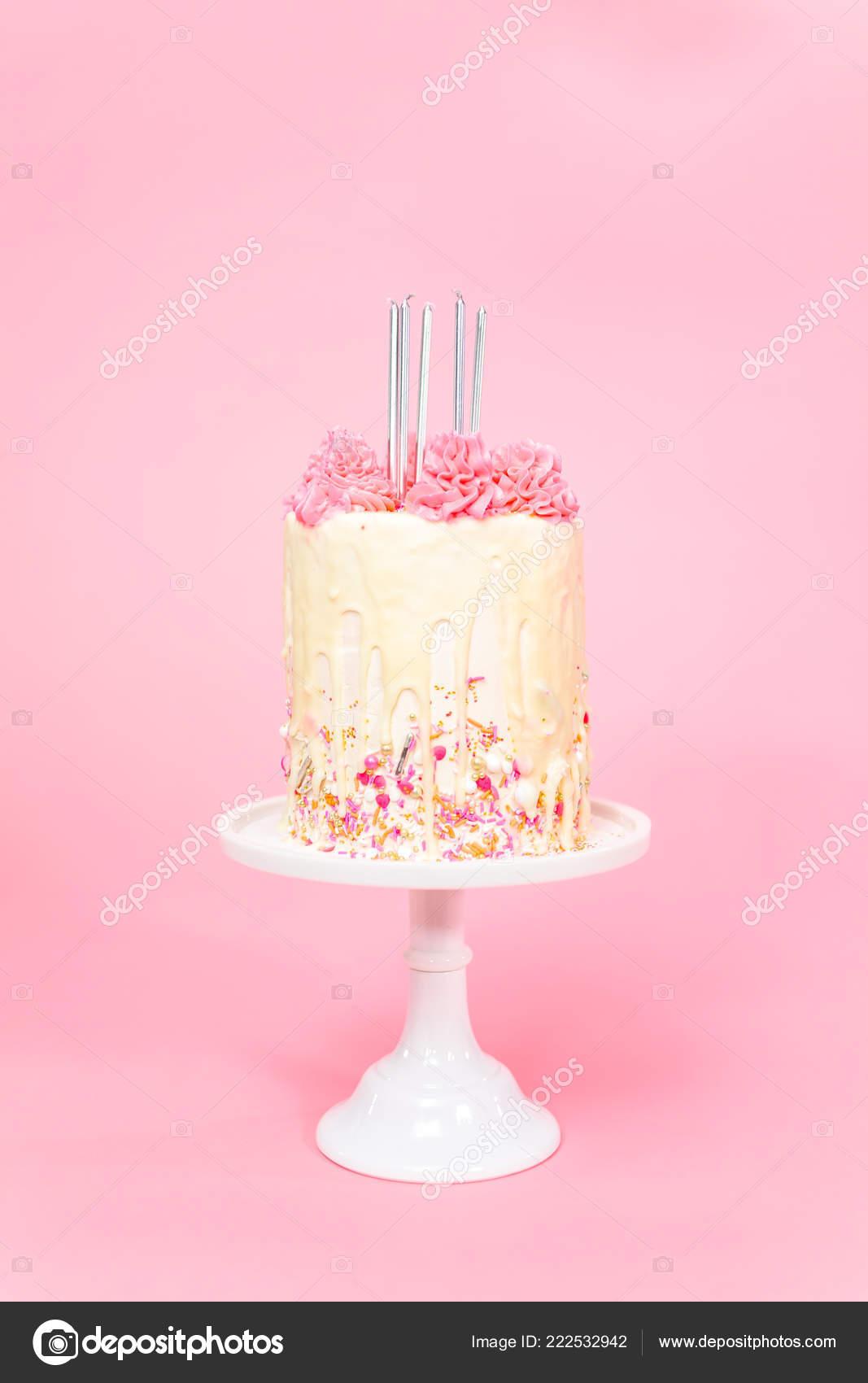 Five Birthday Candles Pink White Buttercream Cream Cake Sprinkles Stock Photo