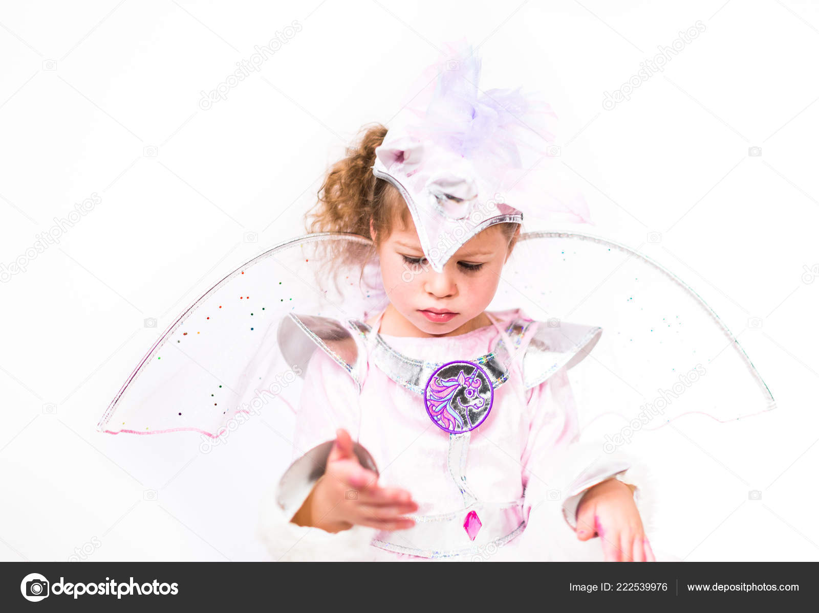 Portrait Little Girl Glitter Unicorn Costume White Background