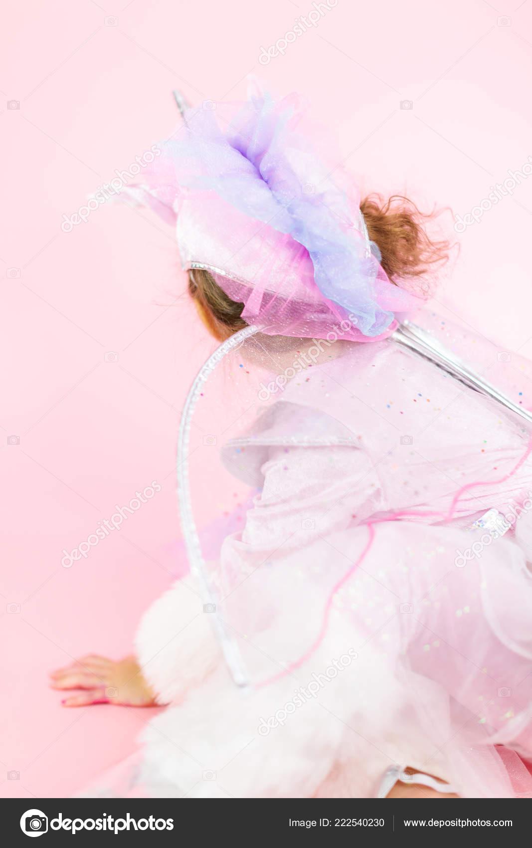 Portrait Little Girl Glitter Unicorn Costume Pink Background Stock