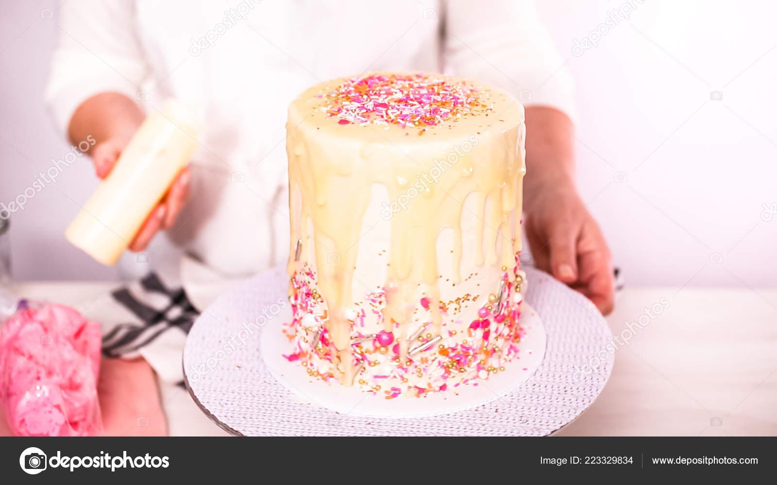 Step Dripping White Chocolate Ganache Birthday Cake Buttercream Stock Photo