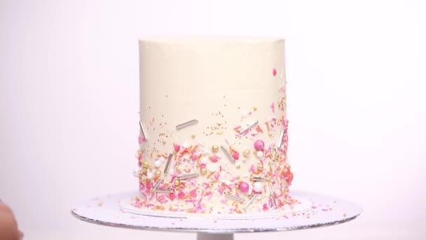Phenomenal Step Step Decorating Tall Birthday Cake Pink Sprinkles Stock Personalised Birthday Cards Paralily Jamesorg
