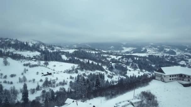 Letecký pohled na zimní vesnice. Zasněžená větev v pohledu zimní les