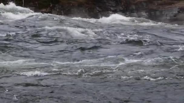 Mountain river water with slow motion closeup. Norway Beautiful Nature.