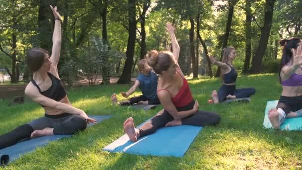 Gruppe von fünf sportlichen Frauen praktiziert Yoga-Stunde mit Instruktor, Workout im Sommerpark und Bewegung im Freien auf der Wiese. Teamwork, gute Laune und gesundes Lebenskonzept.