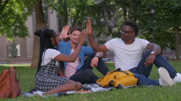 úspěch, přátelství a mezinárodní koncept - skupina happy usmívající se přátel, takže vysoká pět v parku