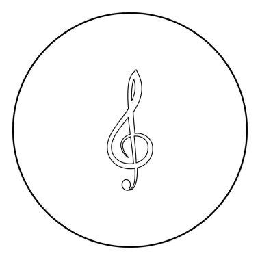 Treble clef  icon black color in circle or round vector illustration