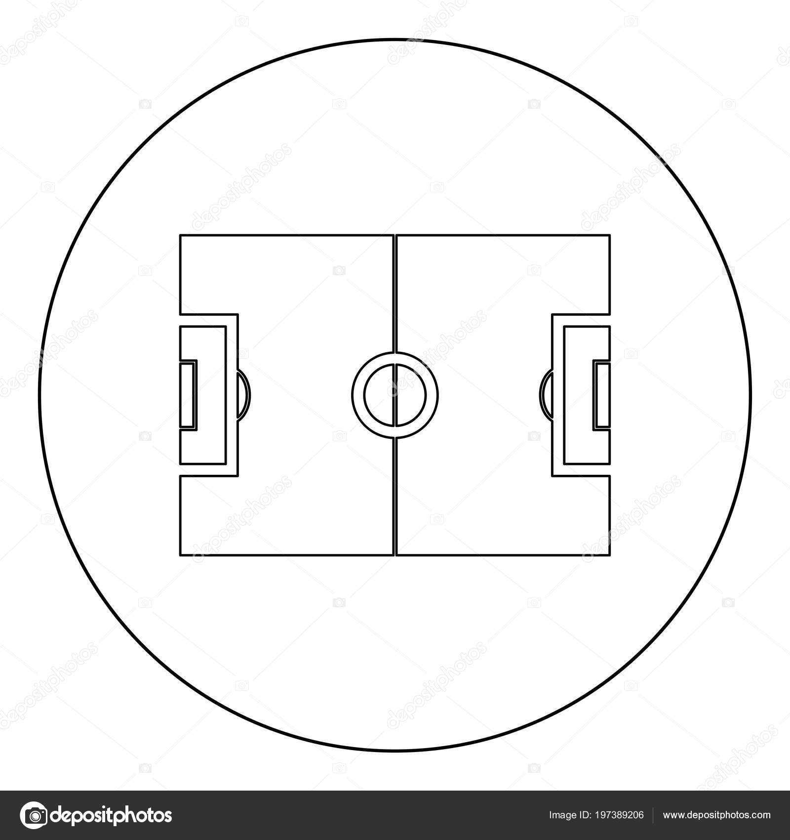 Fussball Feld Symbol Umriss Schwarze Farbe Kreis Vektor