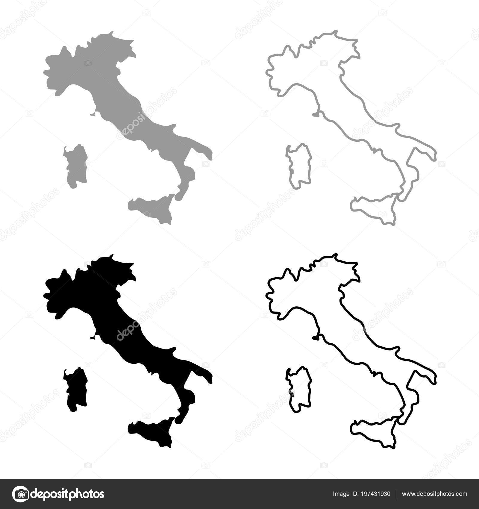 Map Of Italy Outline.Map Italy Icon Set Grey Black Color Outline Stock Vector