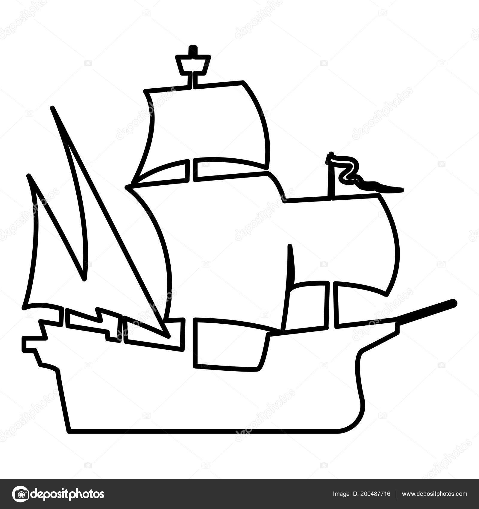 Ortaçağ Gemi Simge Siyah Renkli Vektör çizim Düz Stil Basit Stok