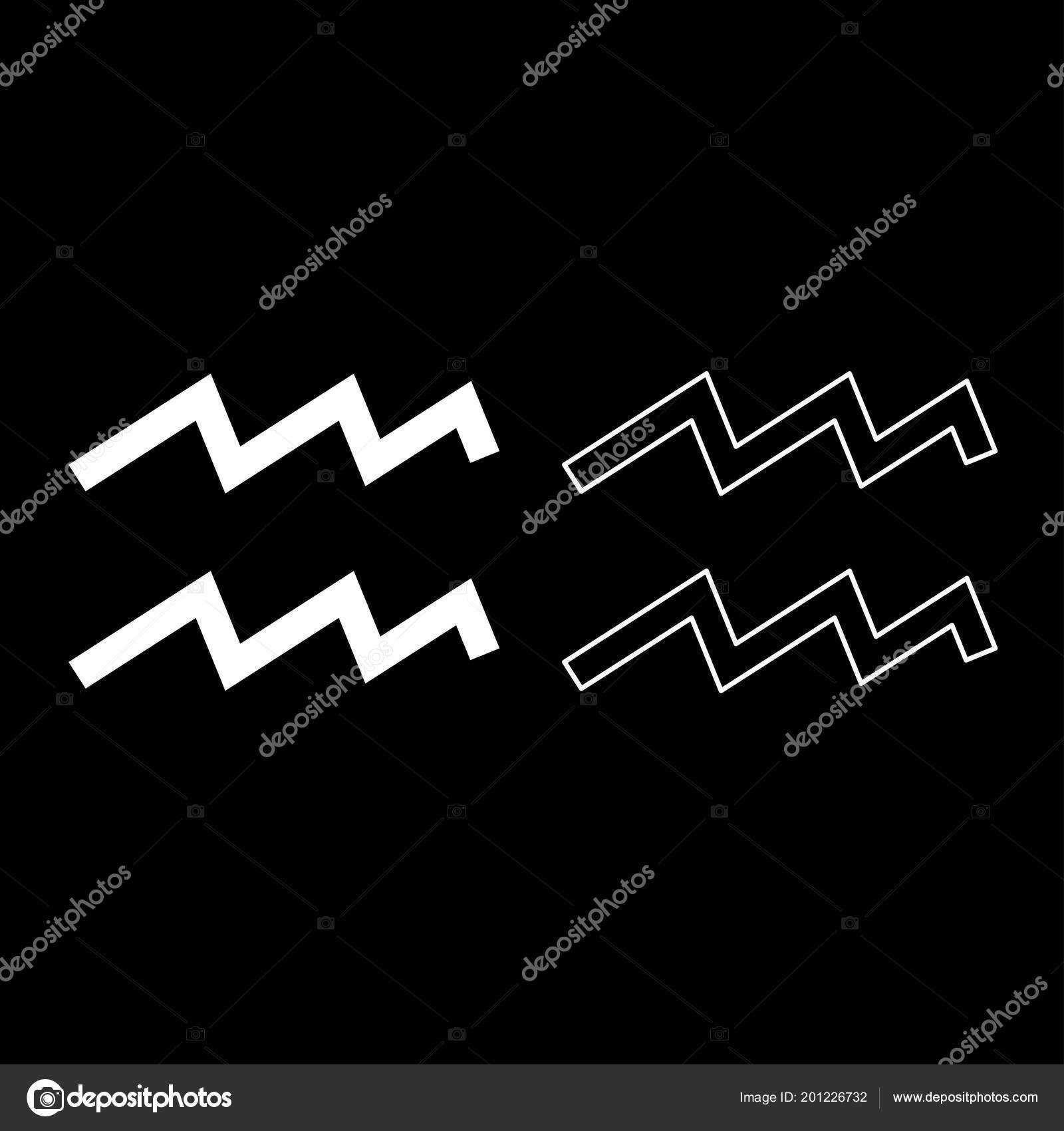Aquarius Symbol Zodiac Icon Set White Color Vector Illustration Flat