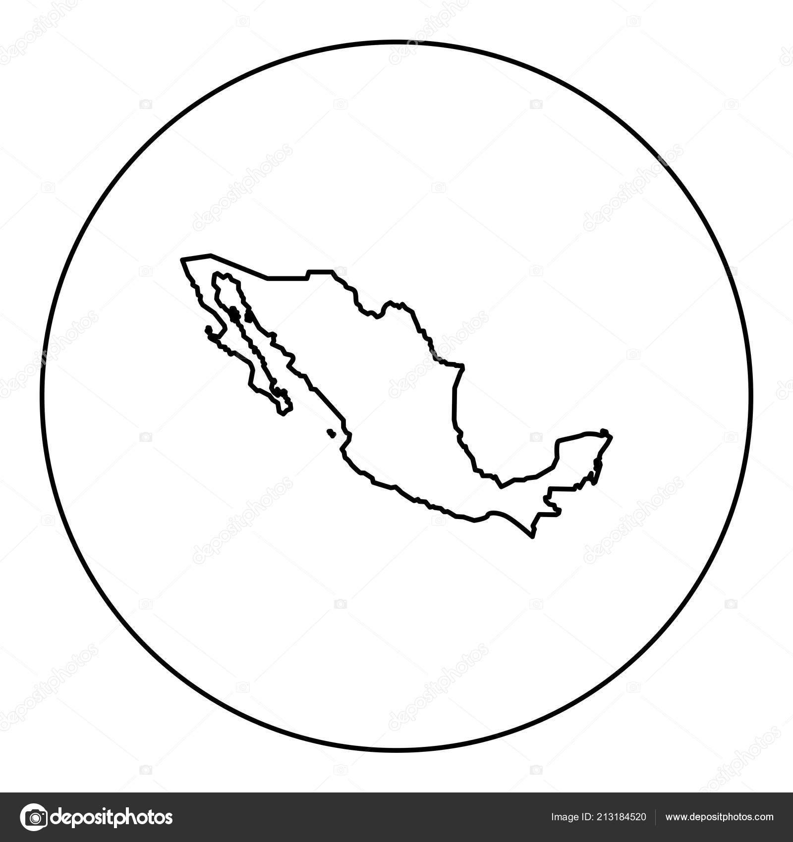 Mexiko Karte Umriss.Karte Von Mexiko Symbol Schwarz Farbe Kreis Umriss Vektor