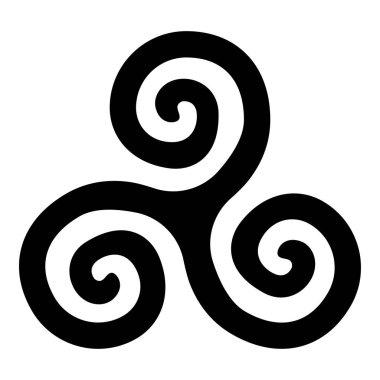 Triskelion or triskele symbol sign icon black color vector illustration flat style simple image