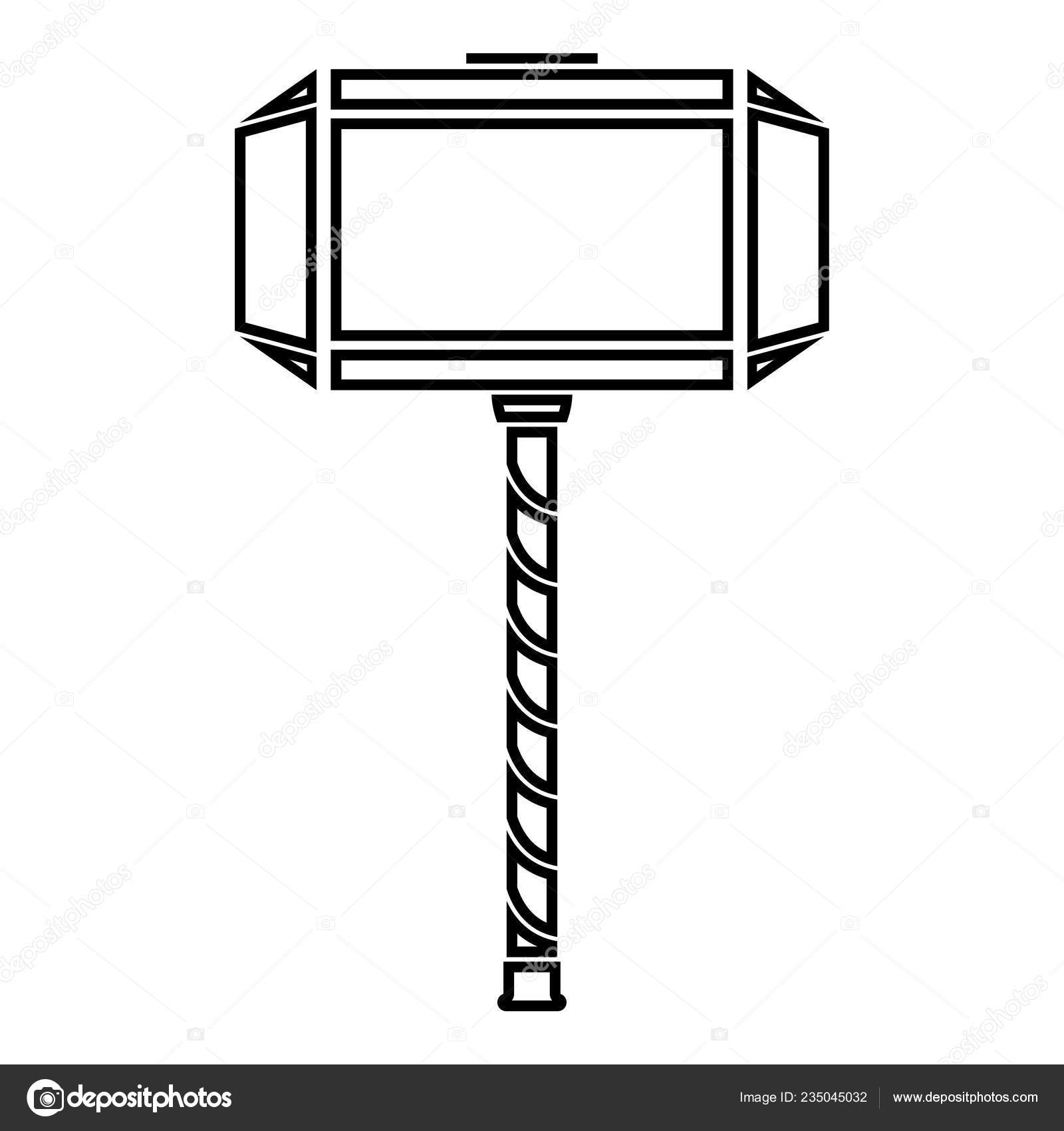 Martelo Thor Mjolnir ícone Cor Preta Ilustração Estilo Plano