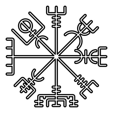 Vegvisir runic compass galdrastav Navigation compass symbol icon black color vector illustration flat style simple image