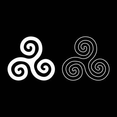 Triskelion or triskele symbol sign icon set white color illustration flat outline style simple image