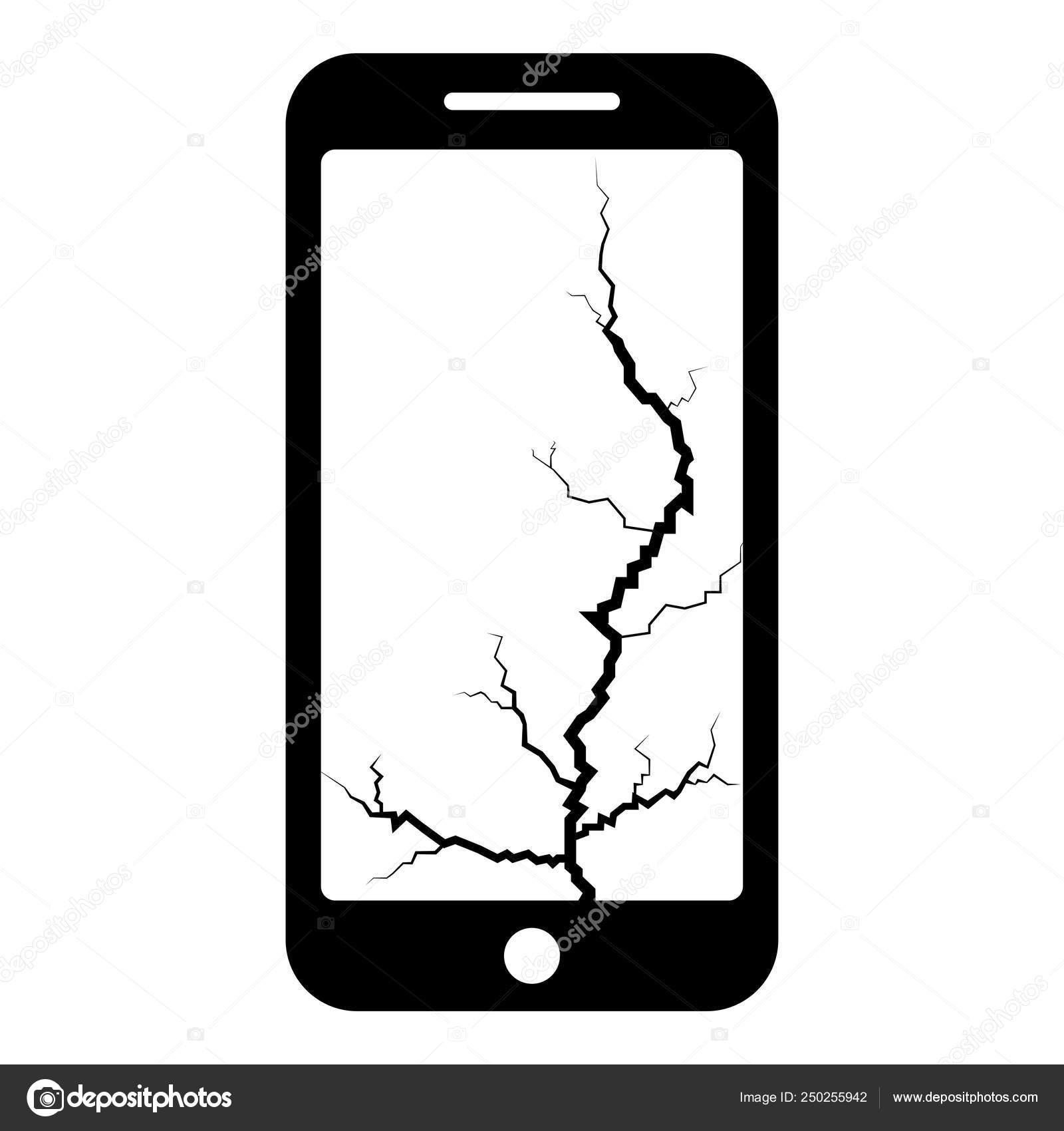 Smartphone Avec Crack Sur Affichage Casse Moderne Gsm