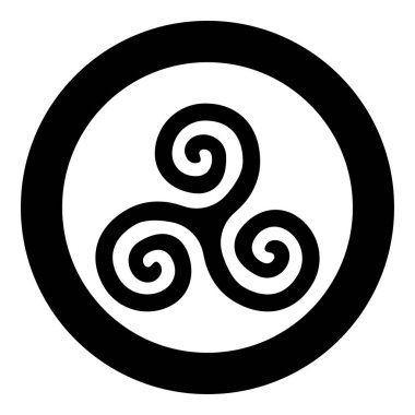 Triskelion or triskele symbol sign icon black color vector in circle round illustration flat style image
