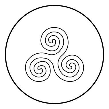 Triskelion or triskele symbol sign icon outline black color vector in circle round illustration flat style image