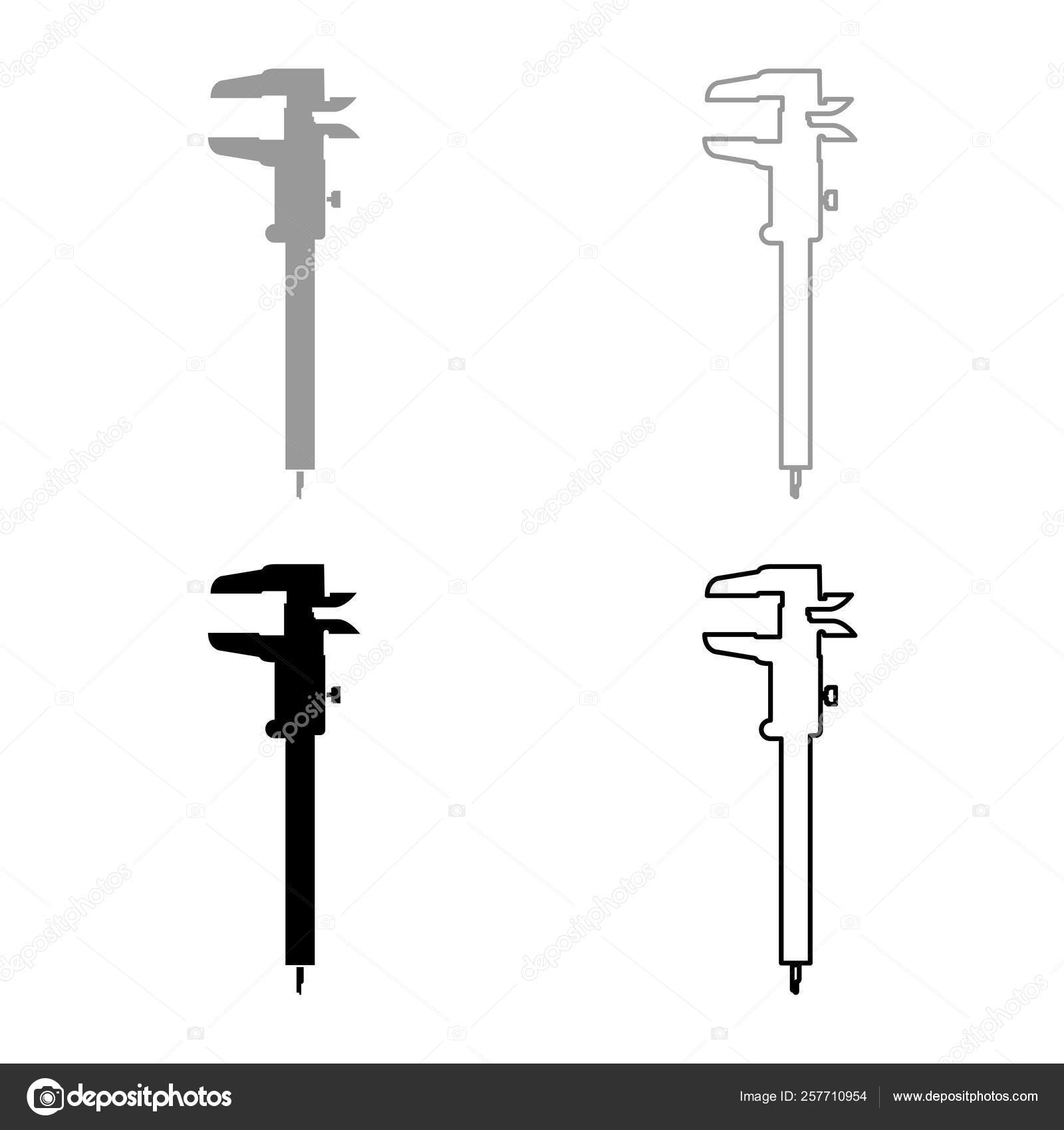 caliper hand caliper sliding caliper vernier caliper caliper gage slide  gage trammel icon set black grey color vector illustration flat style simple  image–