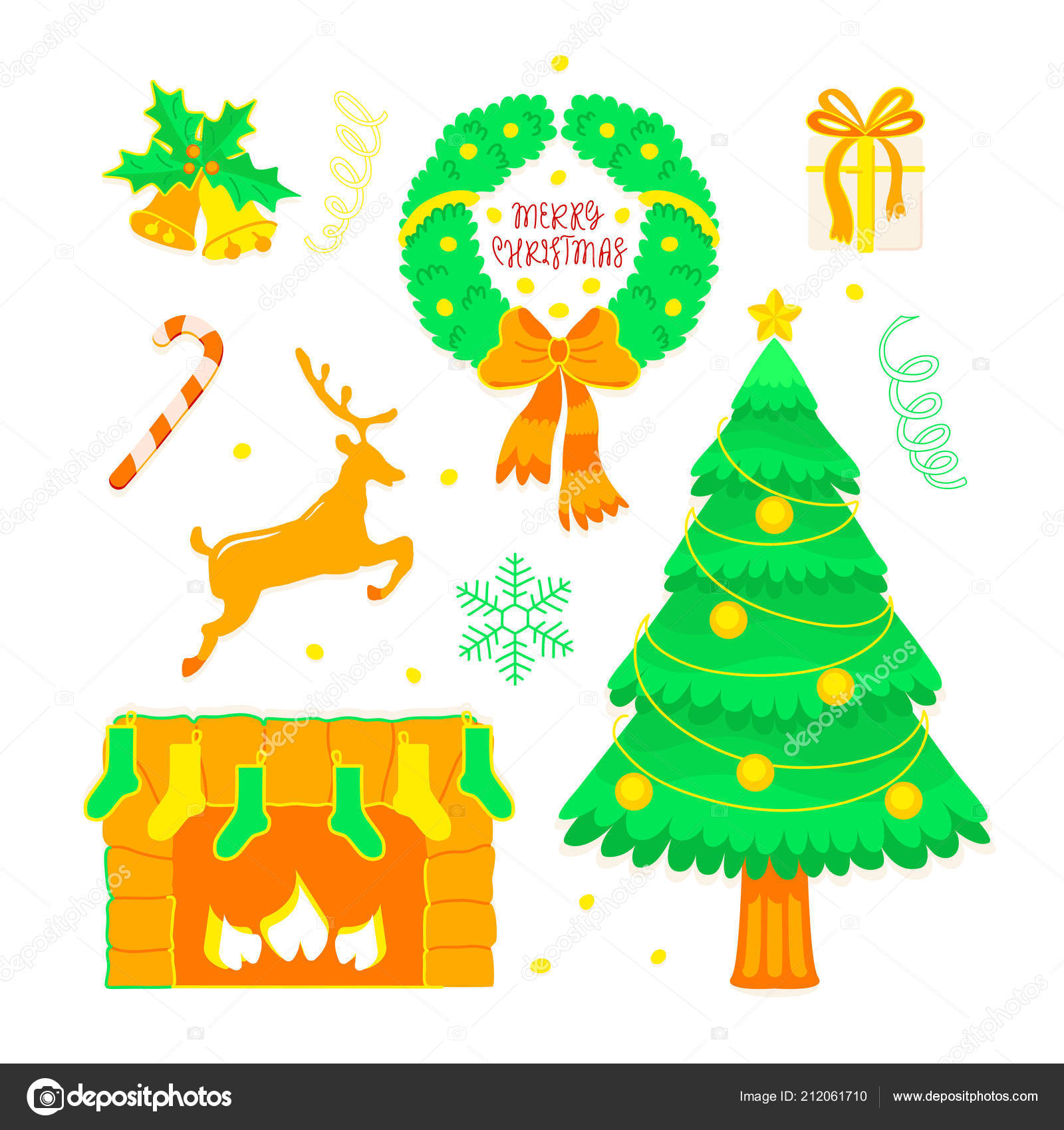 Christmas Set Doodle Style Tradition Holiday Elements Merry