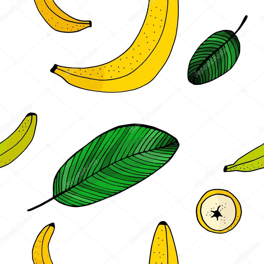 Banana doodle seamless pattern.