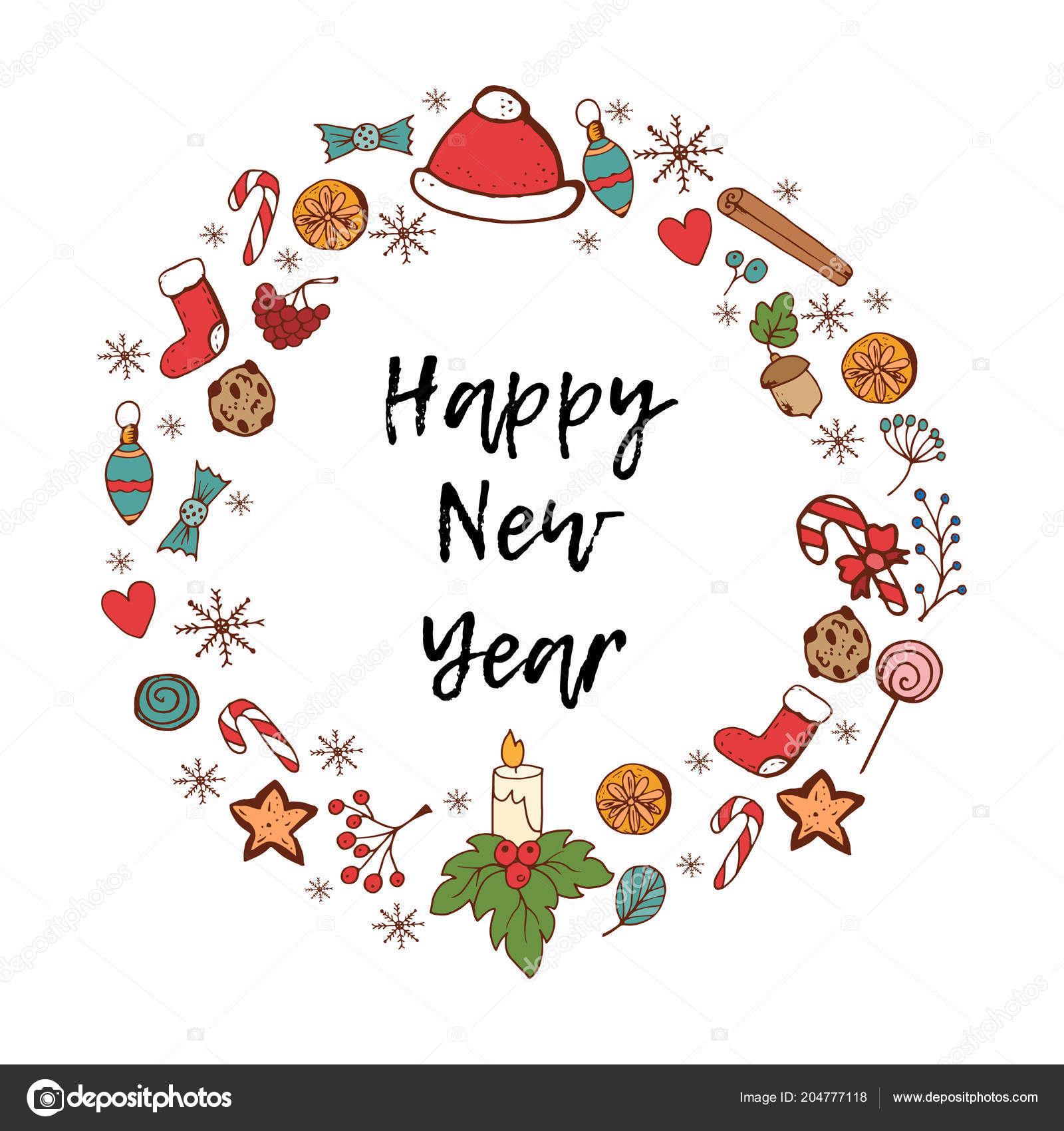 happy new year card festive items holiday frame greeting card stock vector